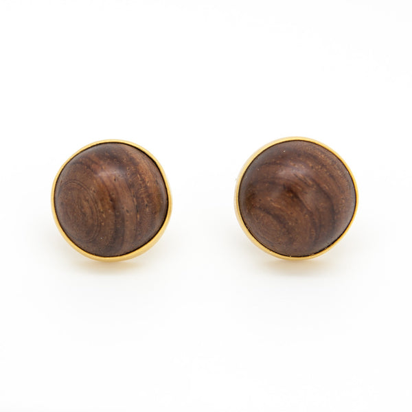 Yossi Harari French Clip Studs with wood cabochon