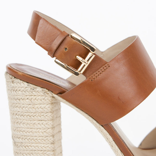 Michael Kors two- tone espadrille high heel sandals golden buckle