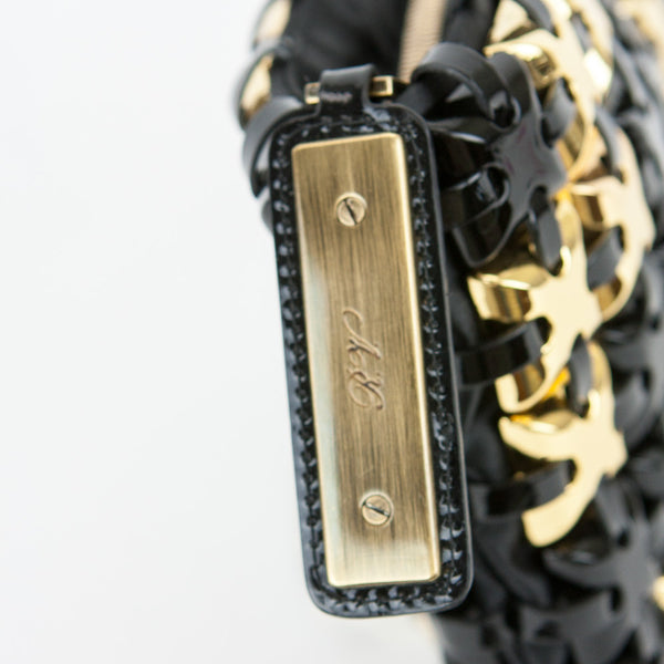 Roger Vivier black and gold clutch golden hardware