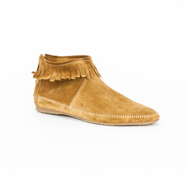 Jimmy Choo tan suede moccasin ankle booties with fringe detail, pointed toes, and back zip closure.