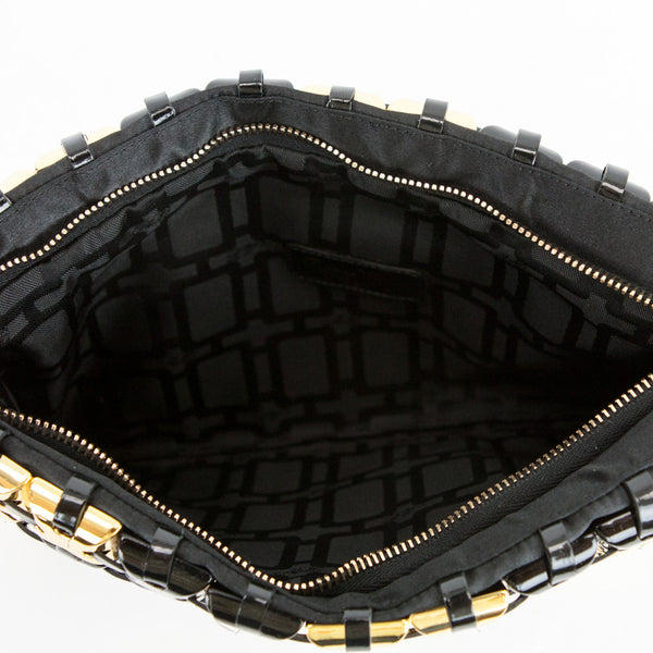 Roger Vivier black and gold clutch top zipper closure