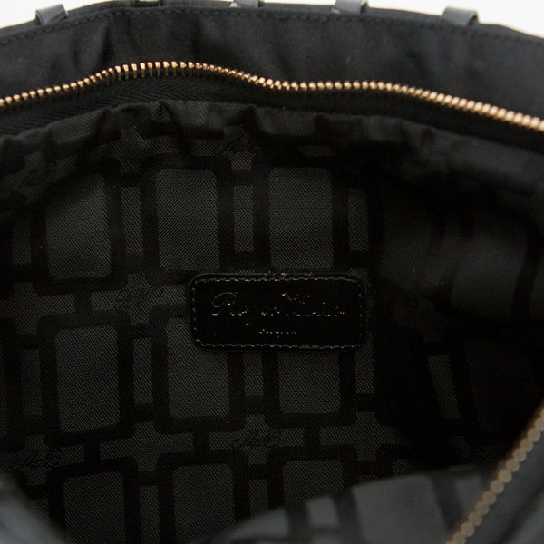 Roger Vivier black and gold clutch interior