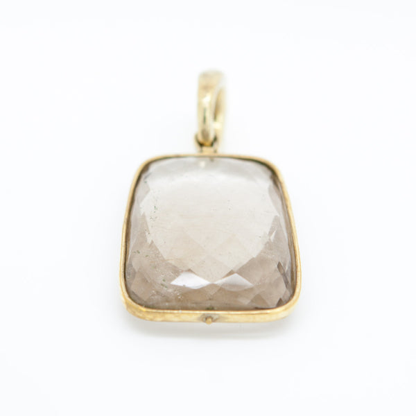 Vaubel Designs Gold Plated Brass Bezel Setting with Trapezoid Faceted Smoky Quartz