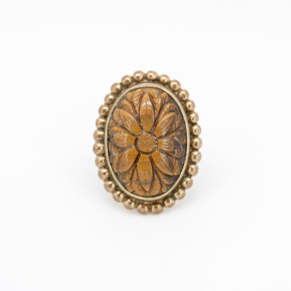 Stephen Dweck Large Brass Ring with carved tiger-eye flower