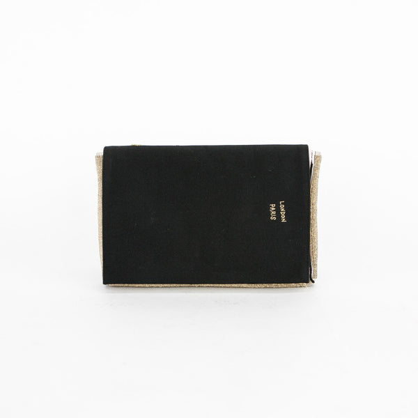 Anya black satin clutch