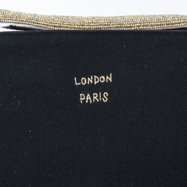 Anya black satin clutch with gold letters