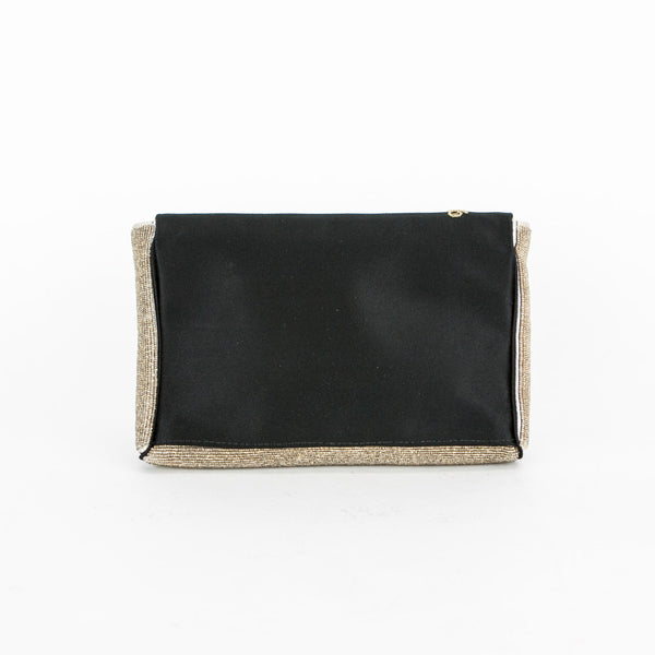 Anya black satin small clutch