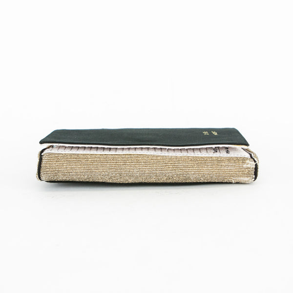 Anya black satin clutch with gold edges