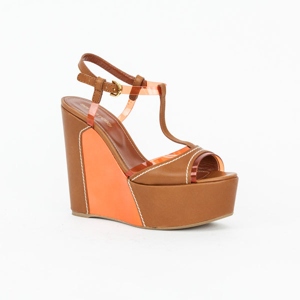 Sergio Rossi brown and orange wedges