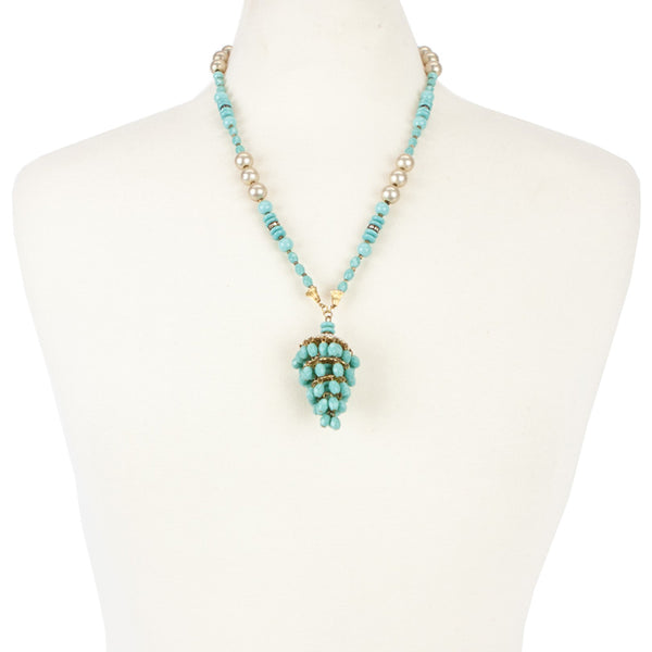 Miriam Haskell | Turquoise Chandelier Tassel Necklace