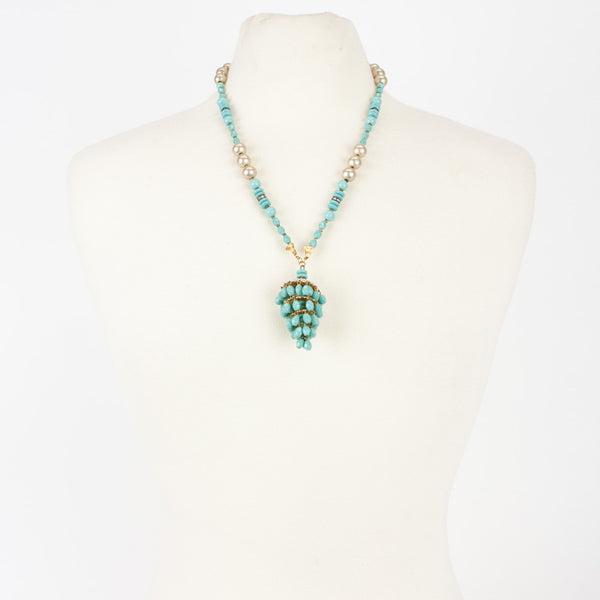 Miriam Haskell turquoise chandelier tassel necklace with bead spacers