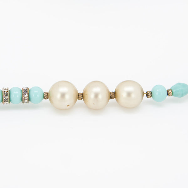 Miriam Haskell turquoise chandelier tassel necklace with beige glass pearls