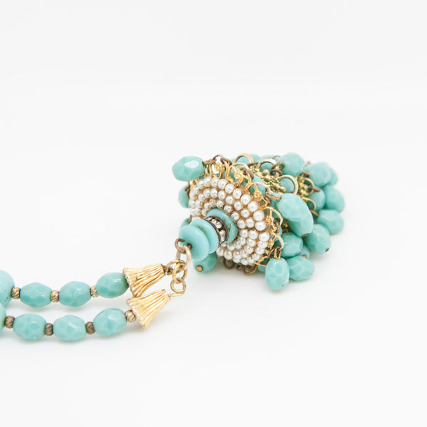 Miriam Haskell turquoise chandelier tassel necklace with mini pearls