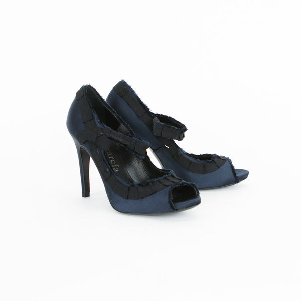 Pedro Garcia | Navy Satin Pumps