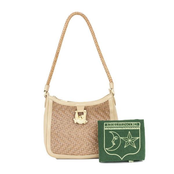 Kieselstein Cord | Beige Woven Shoulder Handbag With Dustbag