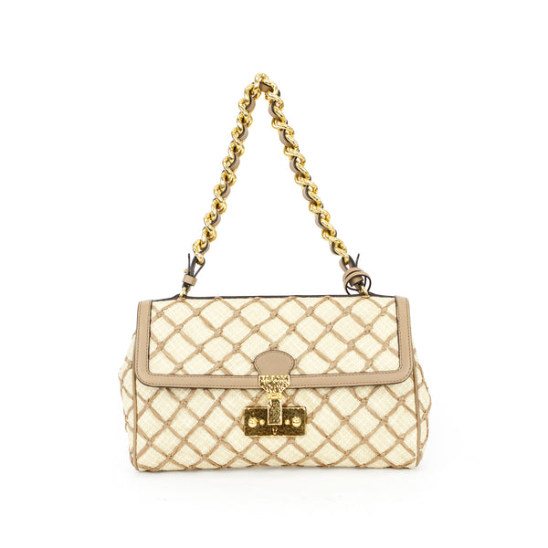 Marc Jacobs straw and raffia shoulder handbag with leather trim, chain strap, with push lock closure.