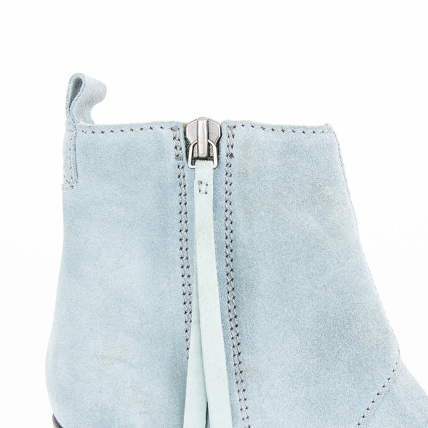 Acne blue suede booties.