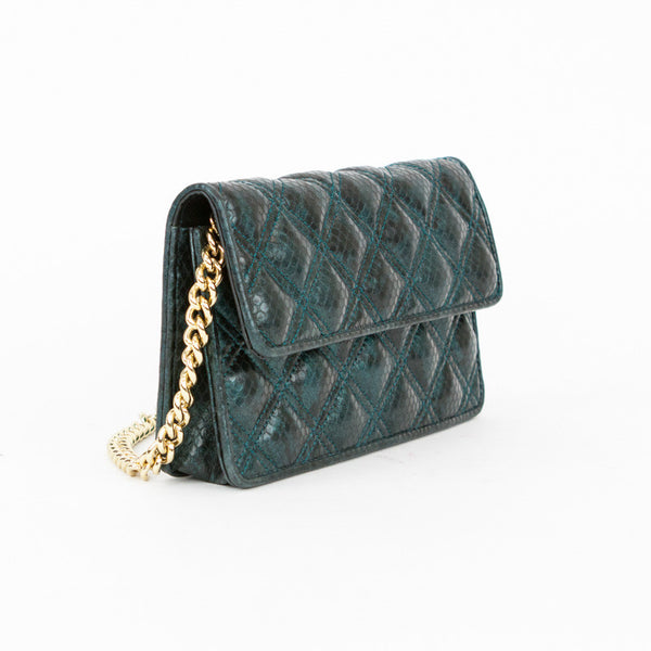 Jacobs by Marc Jacobs small teal quilted snake embossed cross body bag with detachable gold chain strap