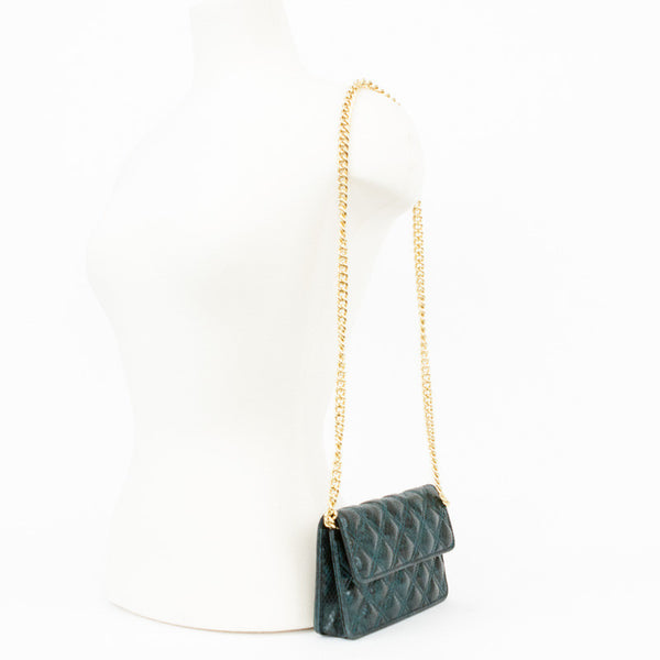 Jacobs by Marc Jacobs small teal quilted snake embossed crossbody bag.