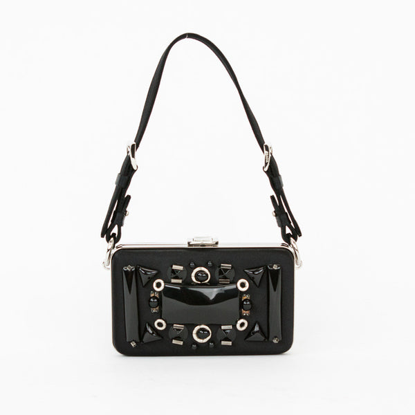 Small Prada black satin Raso Ricamo beaded square box clutch with a flip lock closure, silver hardware, detachable handle and two inner compartments