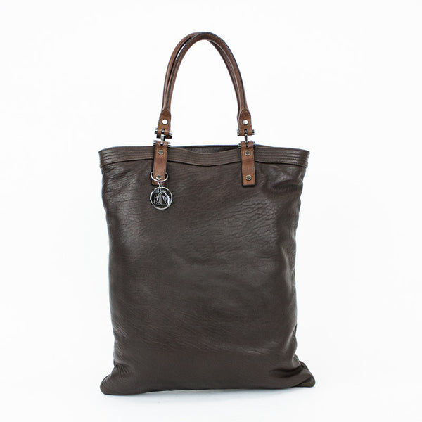 Lanvin extra large brown leather tote with double rolled handles and gunmetal hardware