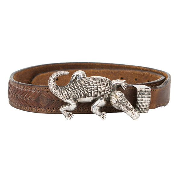 Vintage | Brown Leather Belt & Sterling Silver Alligator Buckle