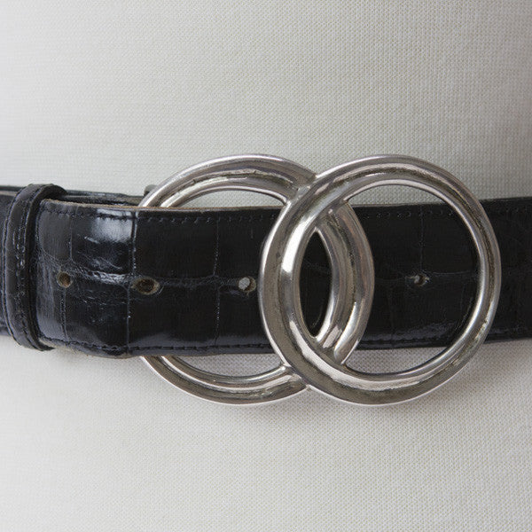 Brenda Schoenfeld Leather Belt With Silver Buckle