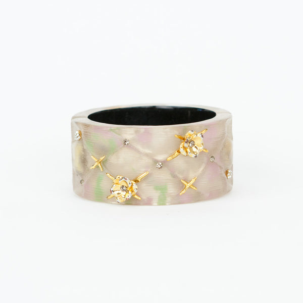 Alexis Bittar quilted bracelet with goldtone flowers