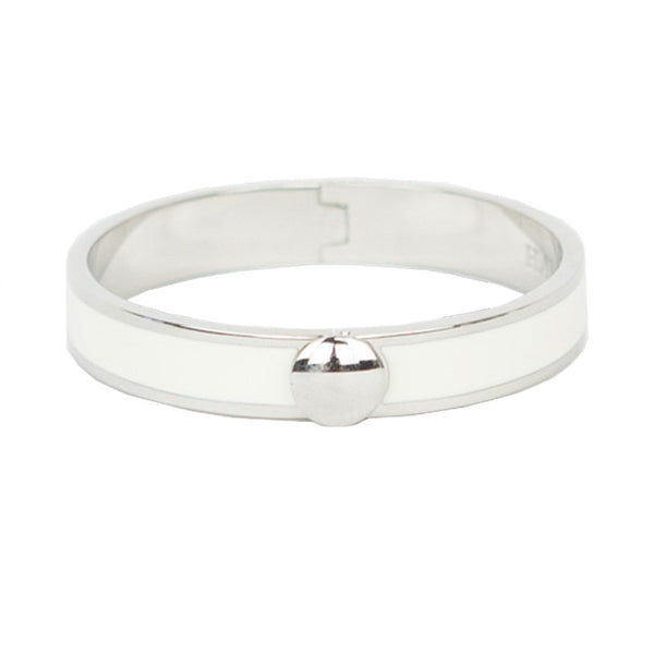 Halcyon Days | Ivory & Silver Hinged Bangle Bracelet
