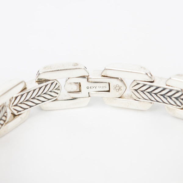 David Yurman meteorite link bracelet stamped with DY and 925 on the clasp