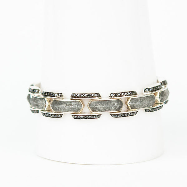 David Yurman meteorite link bracelet with black diamonds