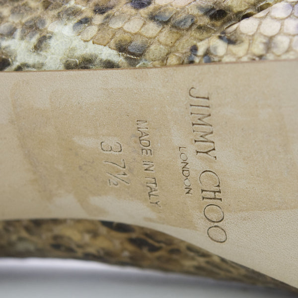 Jimmy Choo High Heel Snakeskin With Leather Soles & Designer Label