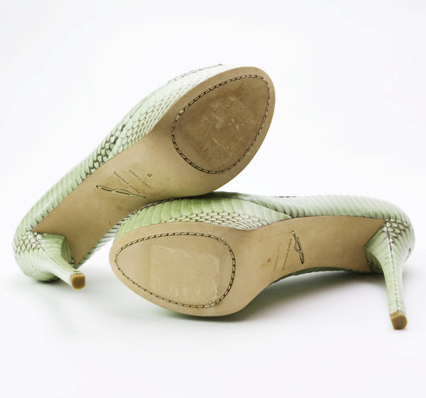 Brian Atwood Mint Green And Taupe Platform Heel & Leather Soles