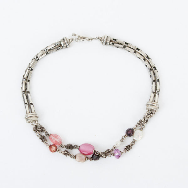 Michael Dawkins sterling silver double chain bar link necklace with fresh water pearls, faceted amethyst, cherry quartz, and ball bead spacers.