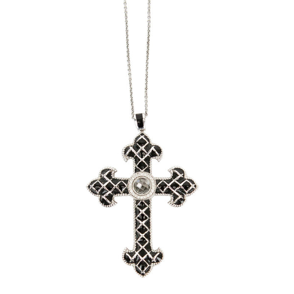 Jude Frances | Black Fleur Cross Pendant Necklace
