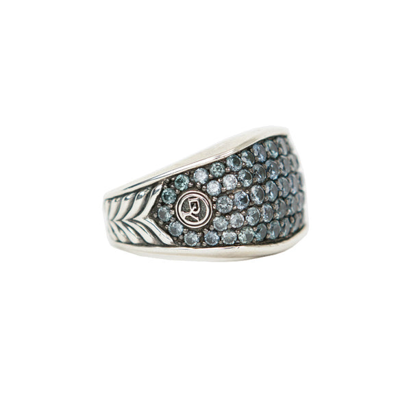 David Yurman | Sterling Silver Three Sided Sapphire Mens Ring