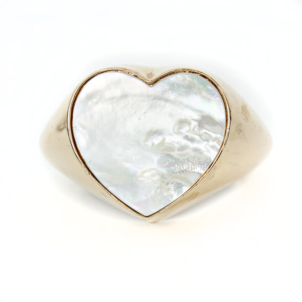 YSL | Vermeil Mother of Pearl Heart Cuff Bracelet