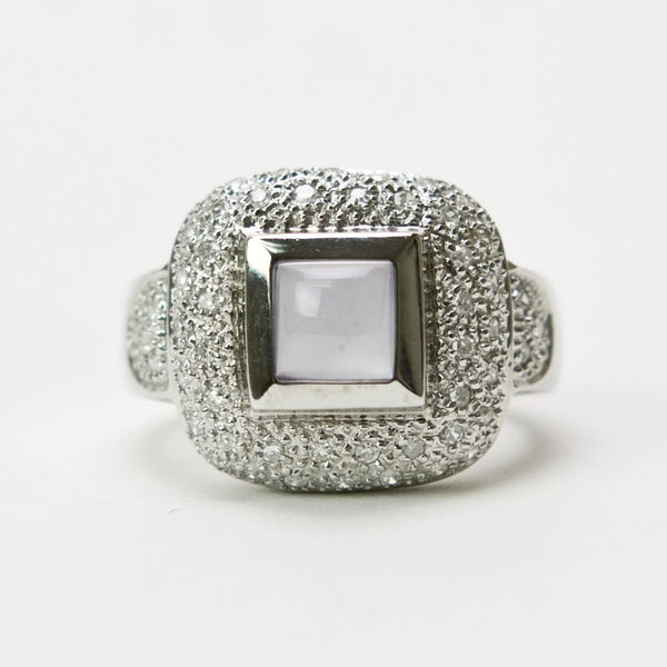 Vintage 14K White Gold Ring With Pave Diamonds