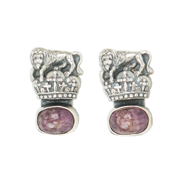 Rebecca Collins | Sterling Silver And Ruby Clip-On Earrings
