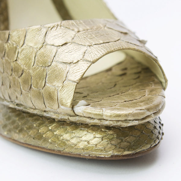 Alexandre Birman Gold Snakeskin High Heel With Raised Snakeskin