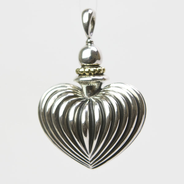 Lagos Sterling Silver Fluted Heart Perfume Bottle Pendant