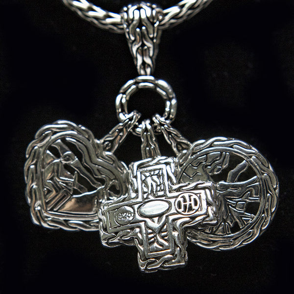 John Hardy Sterling Silver Necklace With Palu Dangling Charms