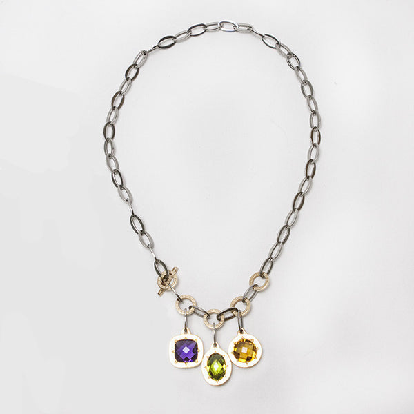 Rebecca Liberty Tri-pendant Stainless Steel Necklace