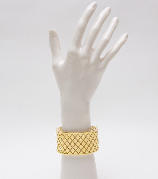 Rebecca Gold Plated Cuff Bracelet With Intricate Diamond Shaped Cutouts
