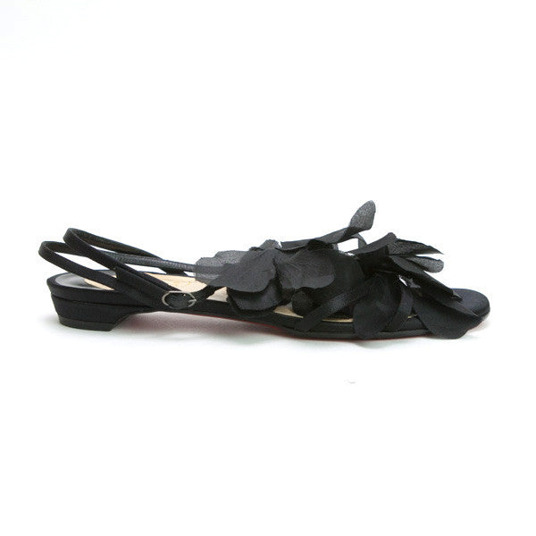 Christian Louboutin Black Petal Crepe Satin Sandals With Adjustable Strap
