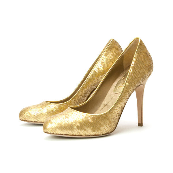 CHANEL | Gold Heels With Sequins