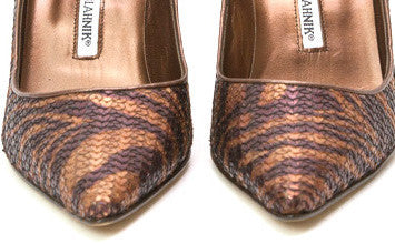 Manolo Blahnik Leather Heels With Tiger Stripes Pattern