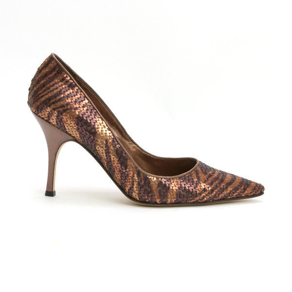 Manolo Blahnik Leather Heels With Sequins