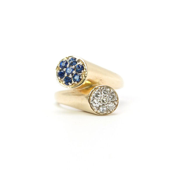 Siffari 14K Ring With Blue Sapphires