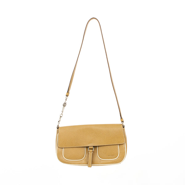 Prada | Beige Leather Shoulder Handbag